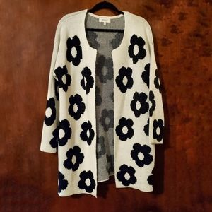 SHERRY TAYLOR Black Floral Open Front Cardigan 3X